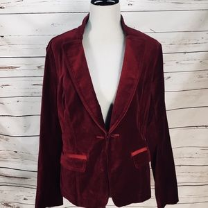 White House Black Market Cranberry Velvet Jacket